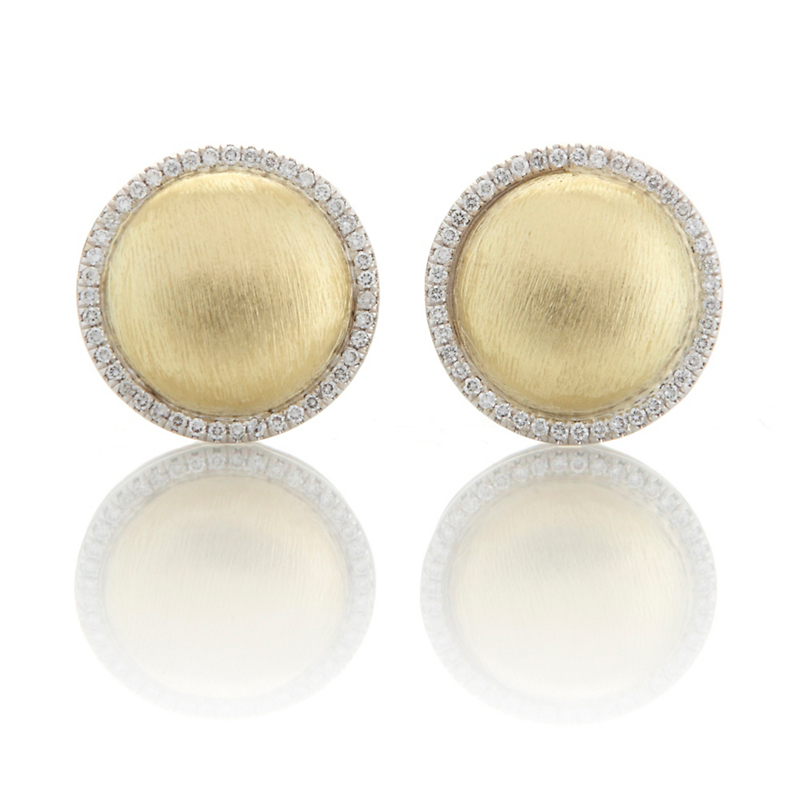 Round Brushed Gold Diamond Border Earrings
