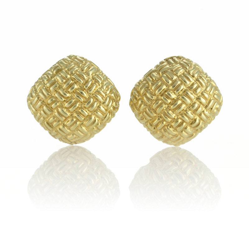 Woven Gold Square Earrings