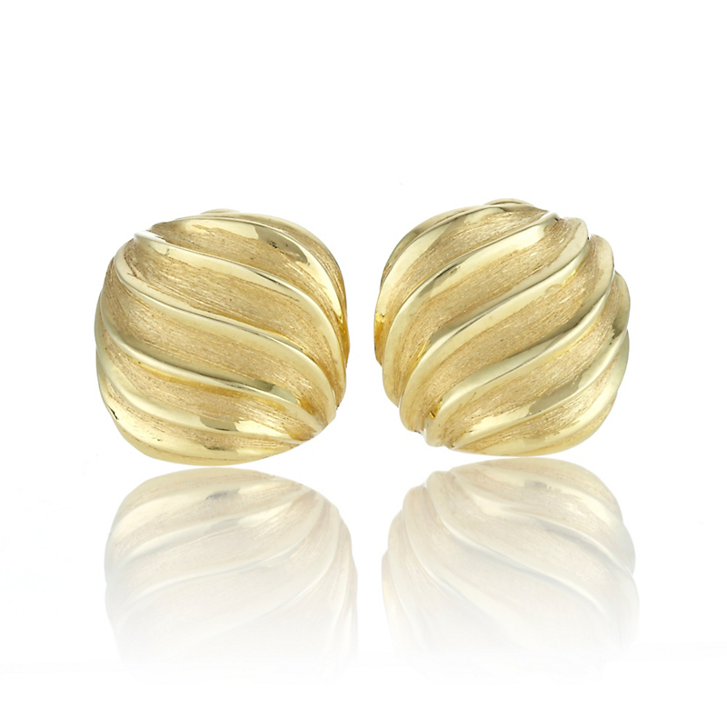 Matte & Polished Ridged Cushion Gold Earrings
