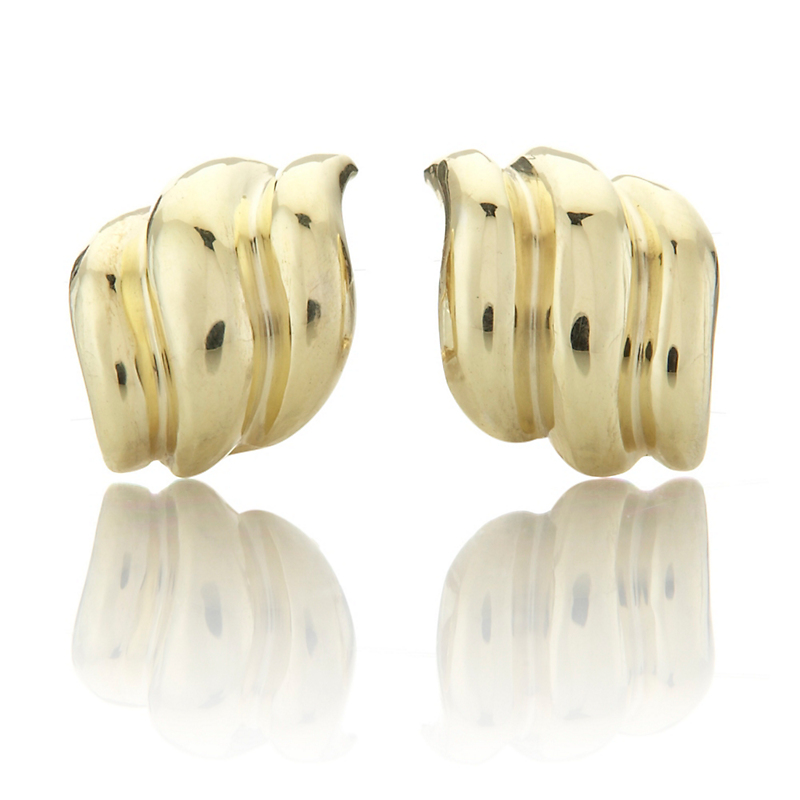 Ridged Wave Gold Earrings