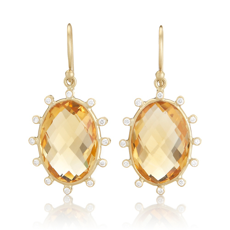Kothari Small Oval Citrine & Diamond Satellite Earrings