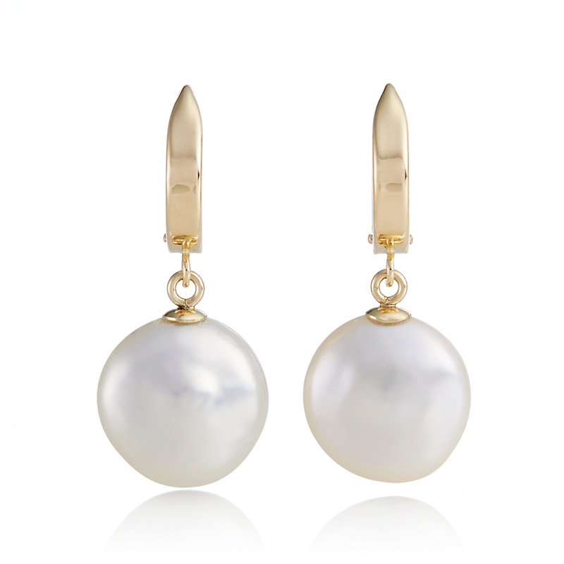 Gump's Gold Hoop & White Coin Pearl Drop Earrings