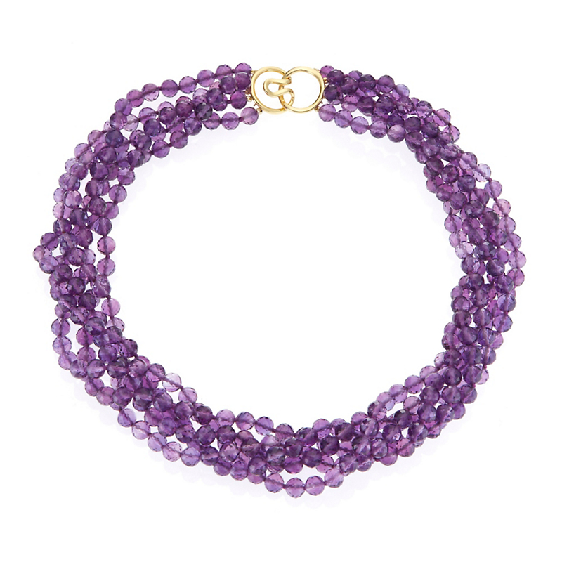 Gump's Five Strand Faceted Amethyst Twist Necklace