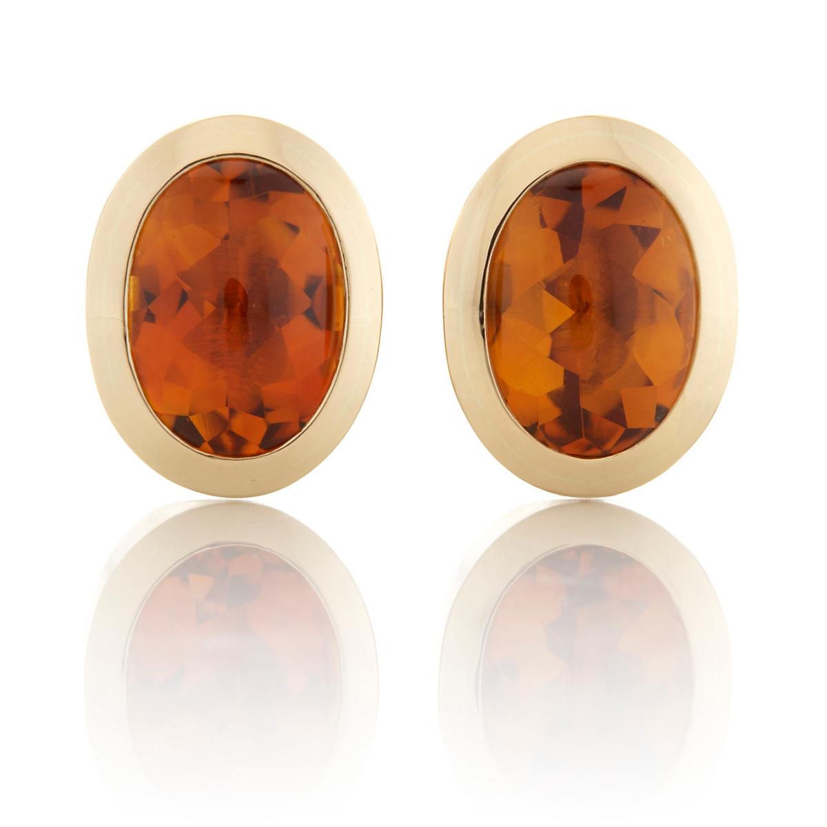 Gump's Large Buff Cut Oval Citrine Bezel Earrings