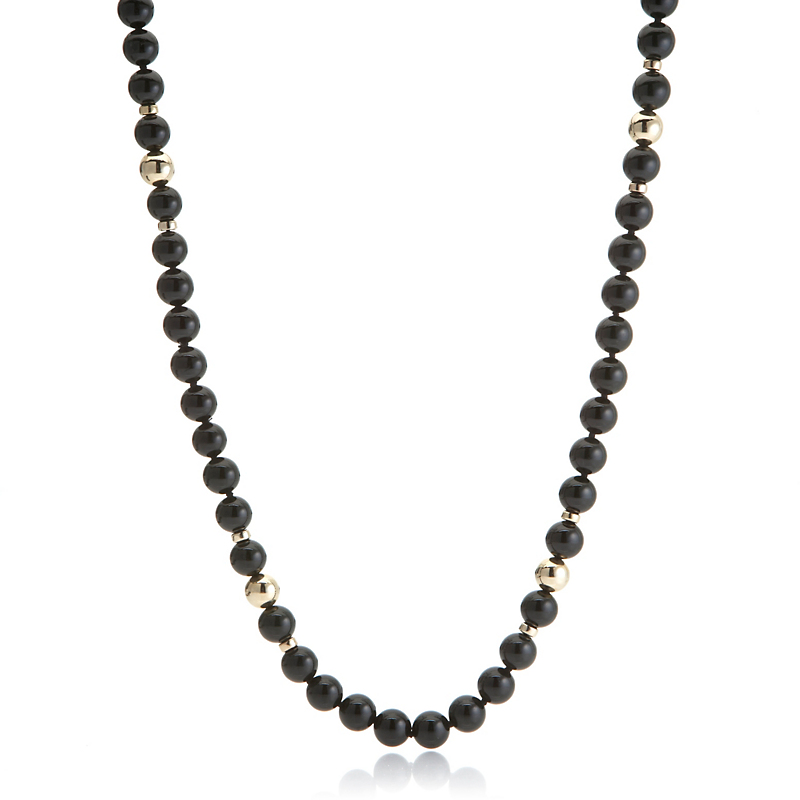 Gump's Black Nephrite Jade Gold Bead & Rondelle Rope Necklace