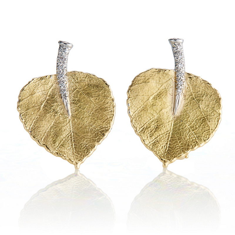 Aaron Henry Gold & Platinum Diamond Aspen Leaf Earrings