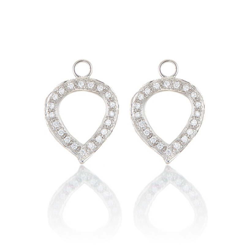 Aaron Henry Small Aspen Diamond Leaf Frame White Gold Earring Charms