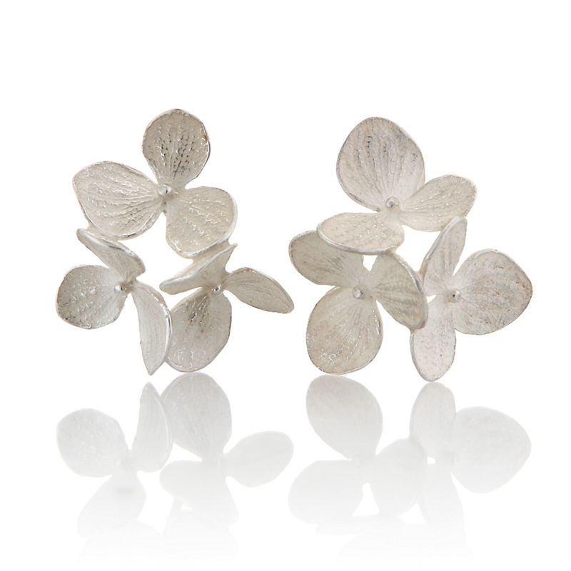 John Iversen Three Part Large Hydrangea Silver Earrings