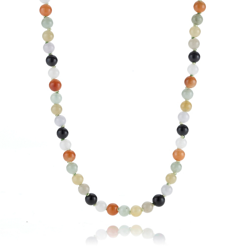 Gump's Petite Multicolor Jade & Gold Necklace