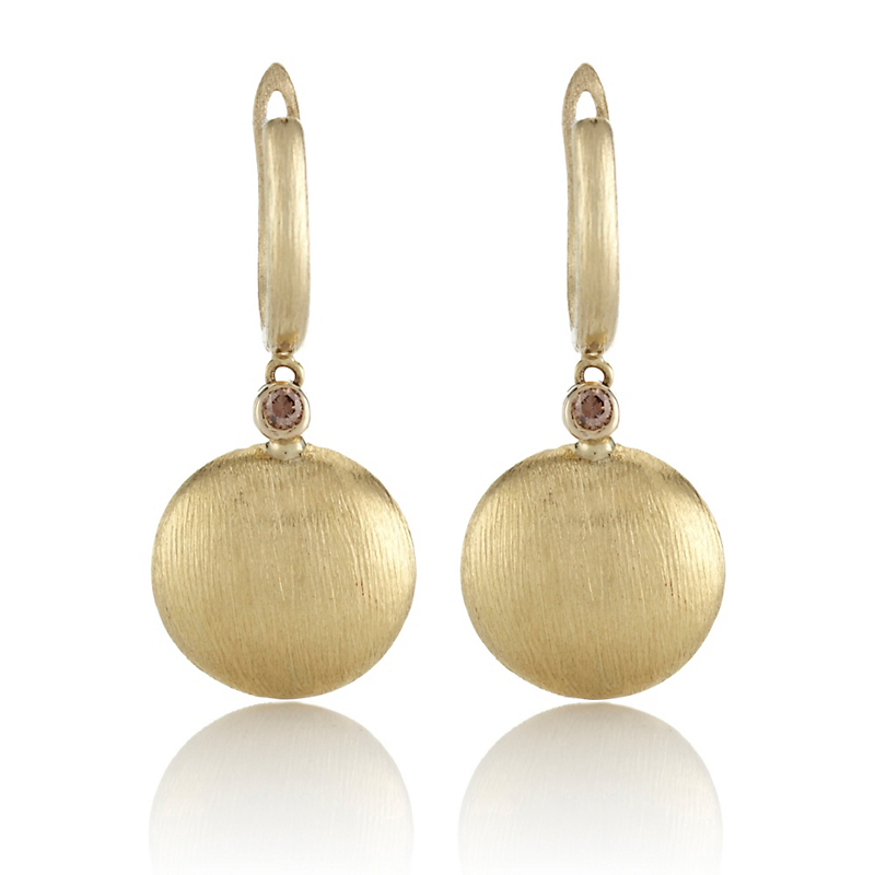 Brushed Gold With Diamond Drop Earrings
