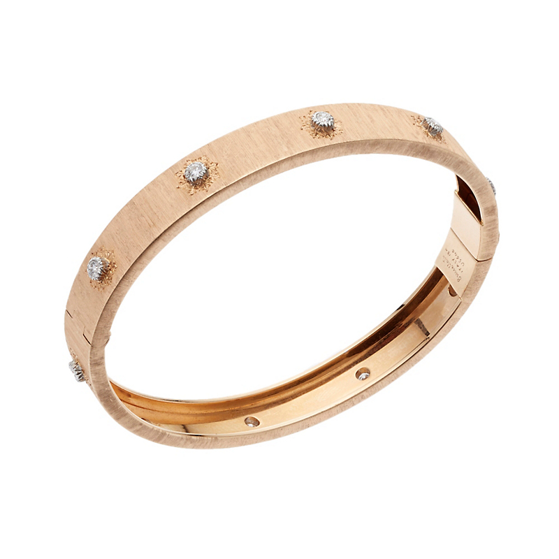 Buccellati Classica Pink Gold and Diamond Hinged Bangle