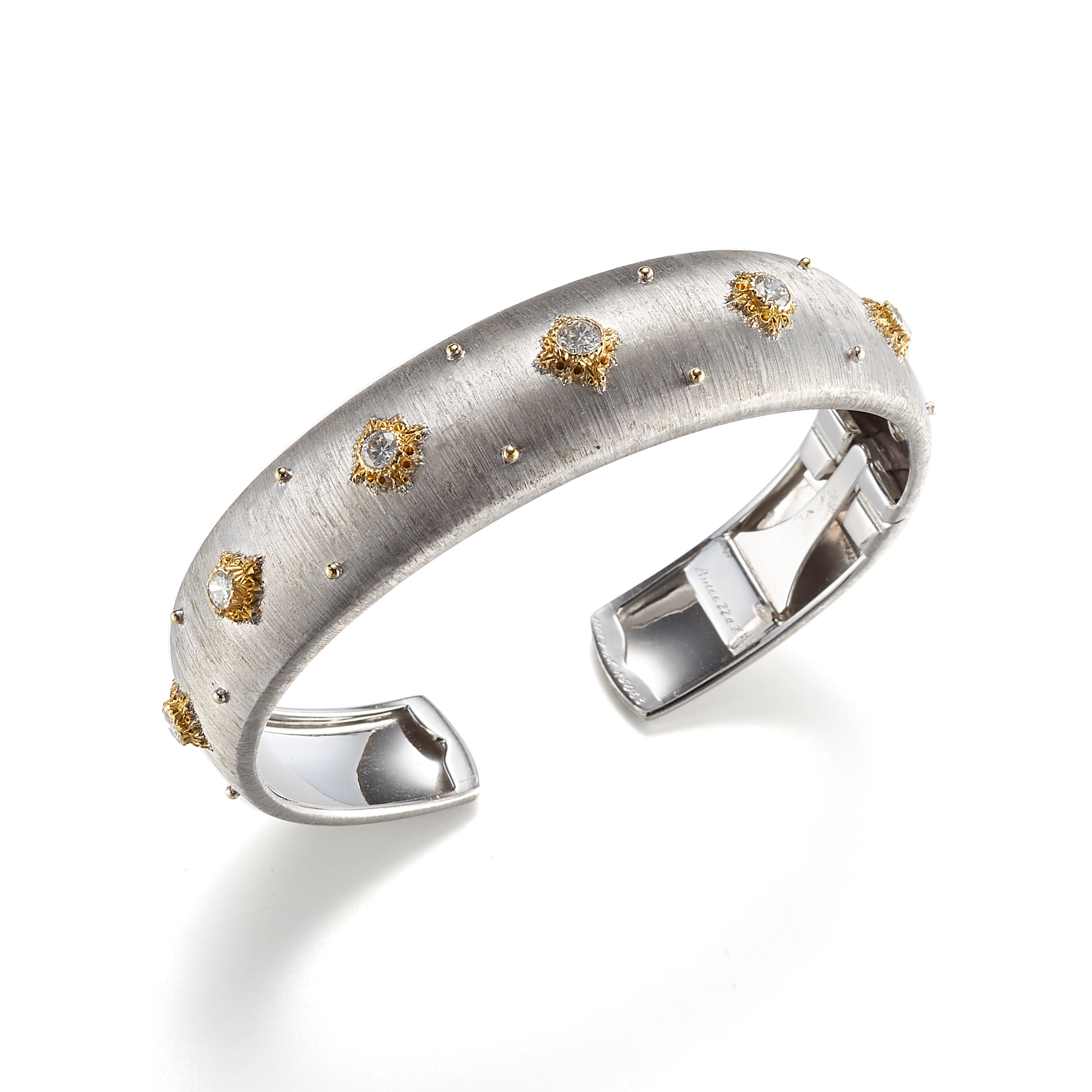 Buccellati Macri Cuff 15mm Bracelet in White Gold with Diamonds