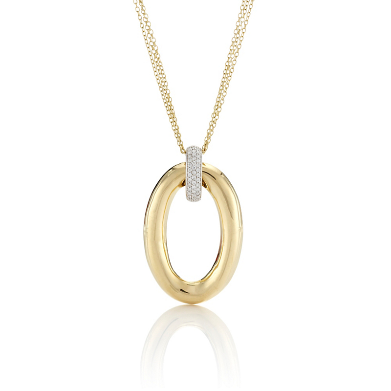 Oval Pendant With Triple Chain