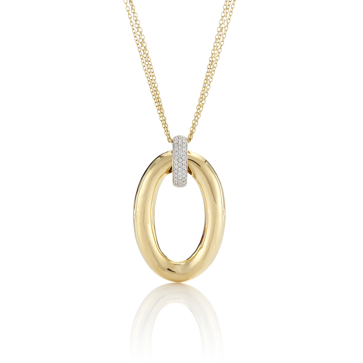 Oval Diamond Triple Chain Pendant Necklace