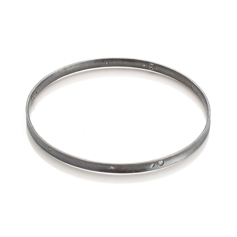 Todd Reed Oxidized Silver with Gray & Cognac Diamond Bangle