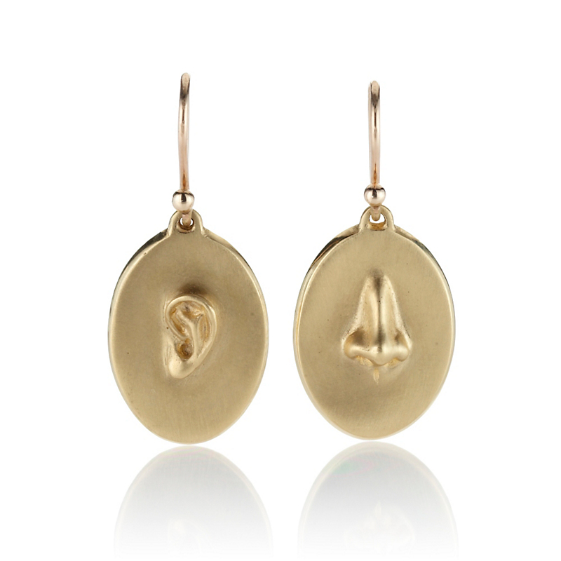 Gabriella Kiss Gold Oval with Embossed Ear & Nose Earrings
