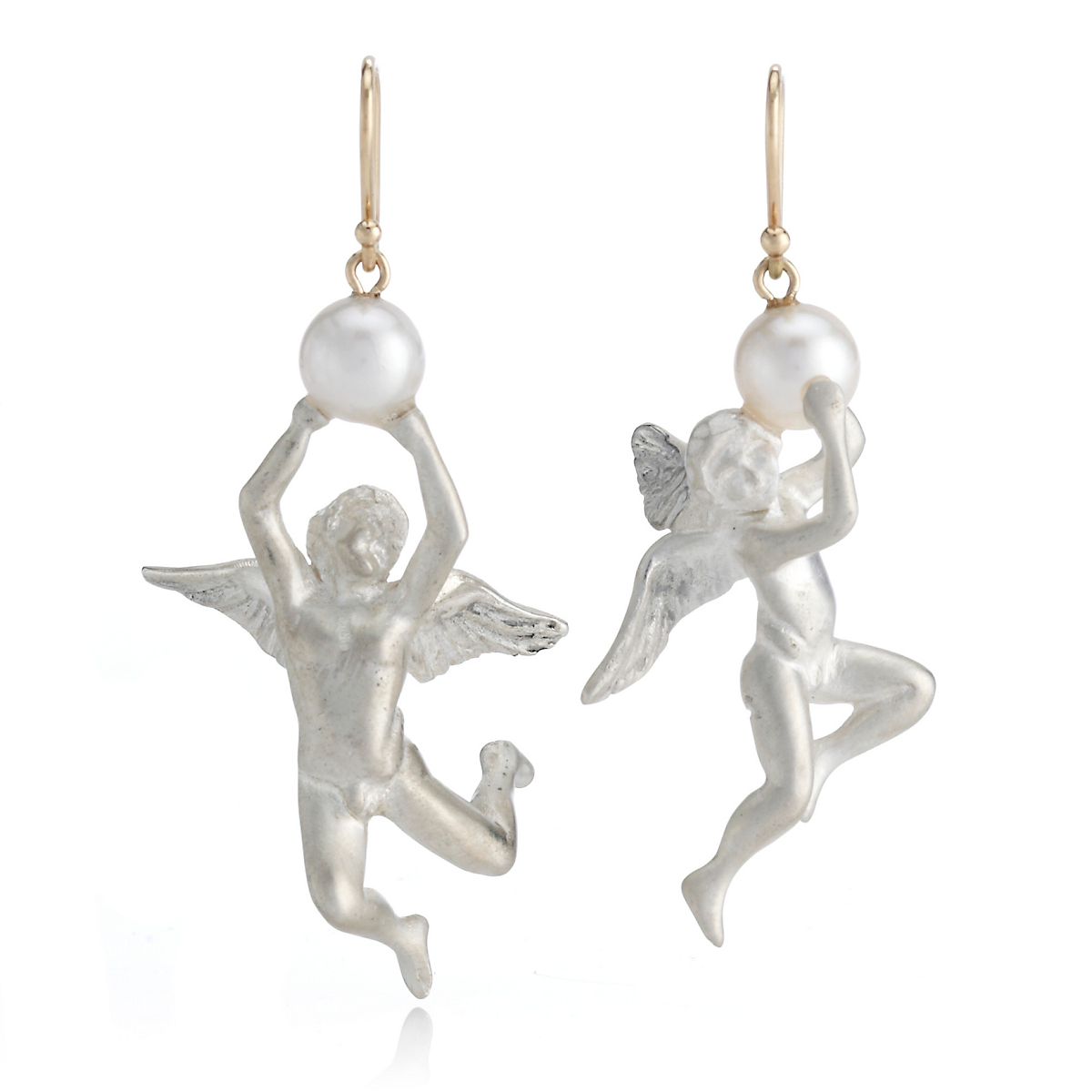 Gabriella Kiss Silver Angels Pearls Earrings