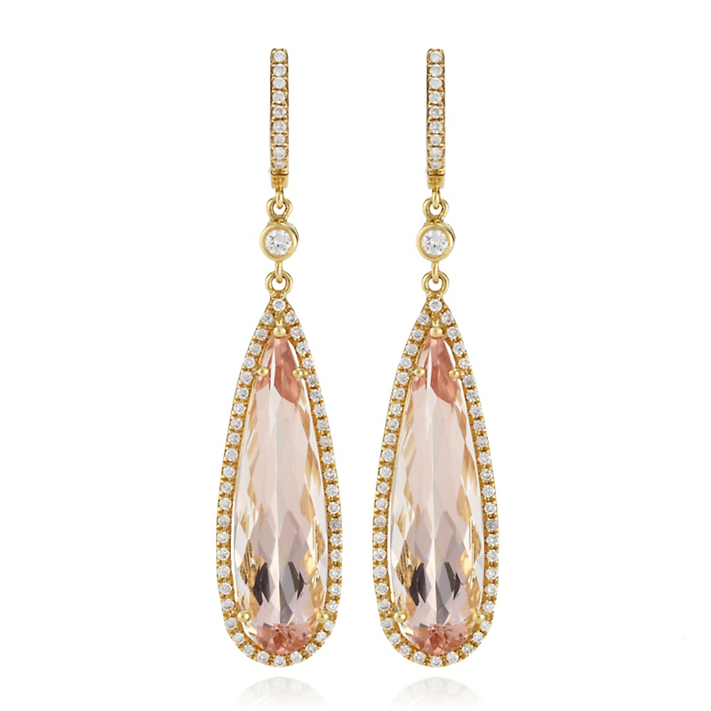 Diamond & Faceted Morganite Slender Drop Earrings