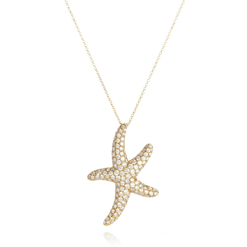 Pavé Diamond Starfish Pendant & Chain