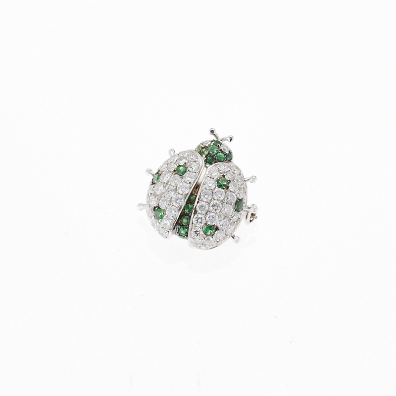 Pavé Diamond & Green Garnet Ladybug Pin