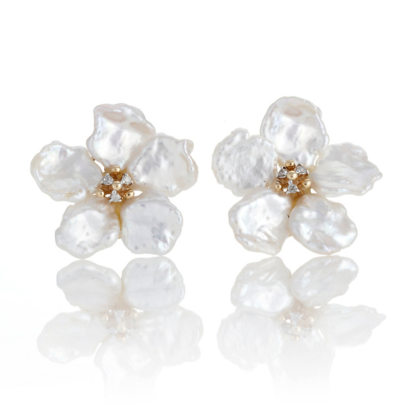 Five Petal Pearl & Diamond Flower Earrings