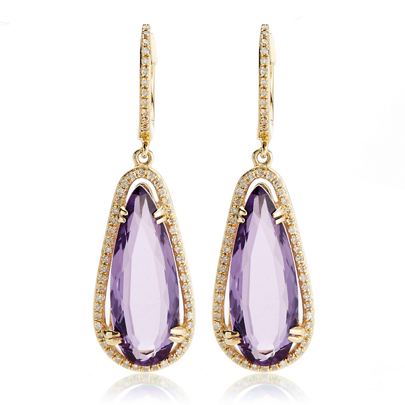 Pavé Diamond & Amethyst Faceted Drop Earrings