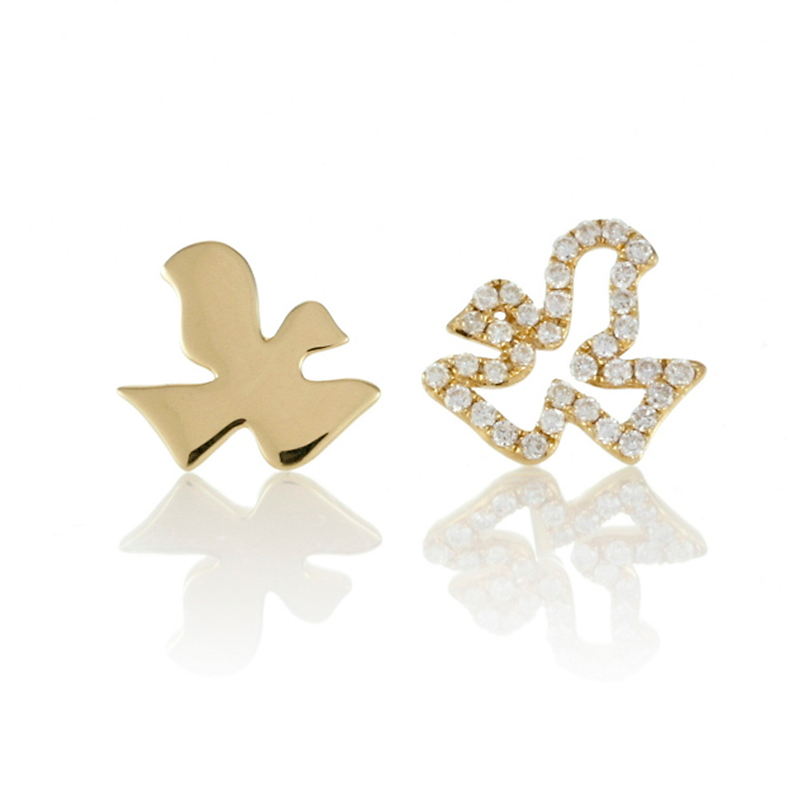 Mismatched Dove Diamond & Gold Stud Earrings