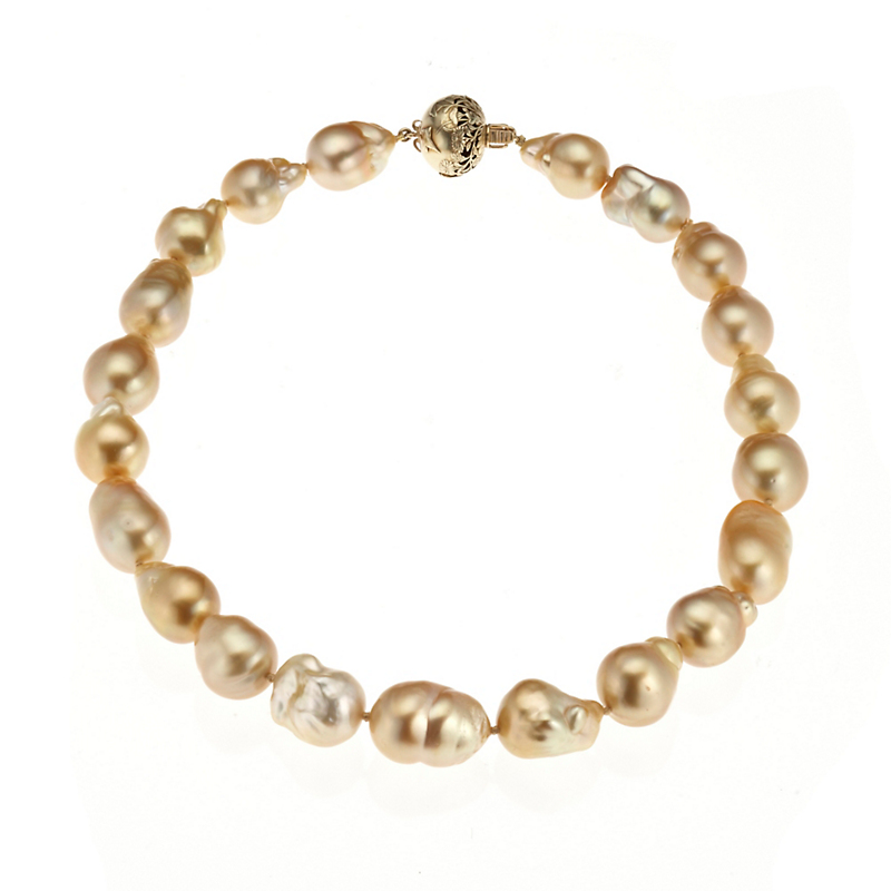 Gump's Golden South Sea Pearls & Ojime Necklace