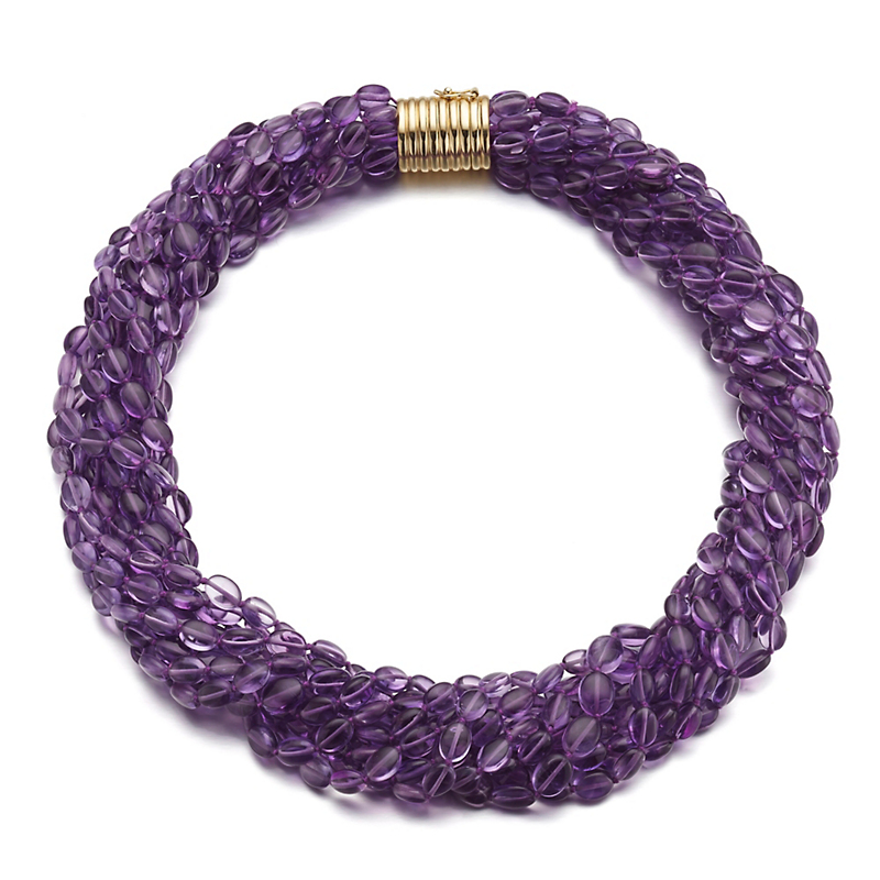 Gump's Amethyst Twist Necklace With Ridged Barrel Clasp