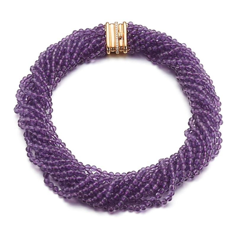 Gump's Multi-Strand Amethyst Twist Necklace with Diamond Clasp