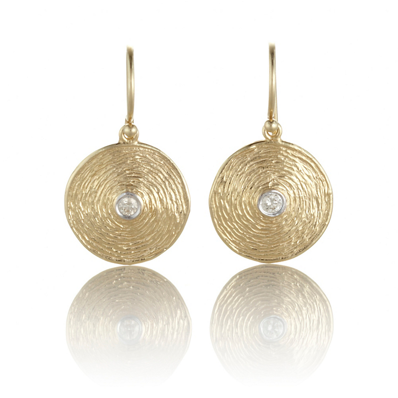Textured Gold & Diamond Disc Earrings