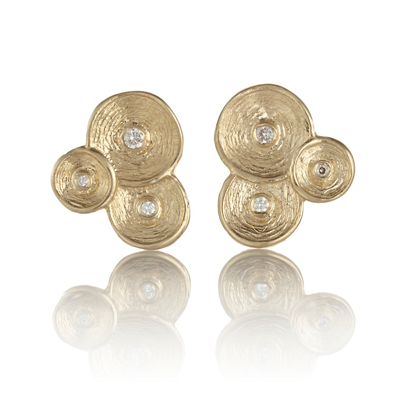 Textured Gold & Diamond Disc Cluster Earrings