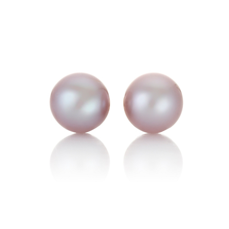 Gump's Pink Round Pearl Earrings, 10mm