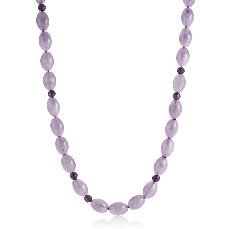 Gump's Oval Cape Amethyst & Faceted Bead Rope Necklace