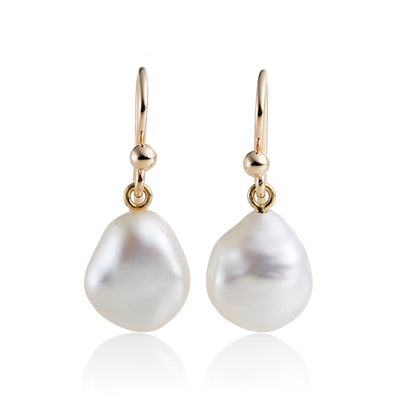 Gump's Small White Baroque Pearl Drop Earrings