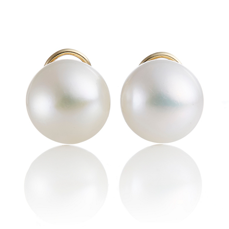 Gump's Freshwater Cultured Button Pearl Earrings, Large