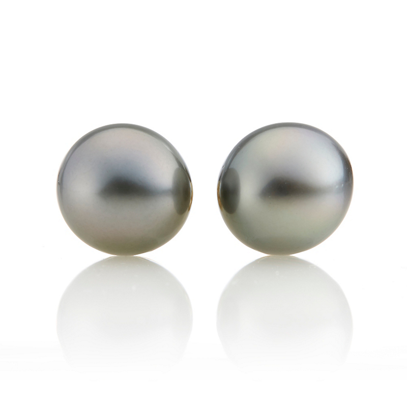Gump's Deep Grey Tahitian Pearl Earrings