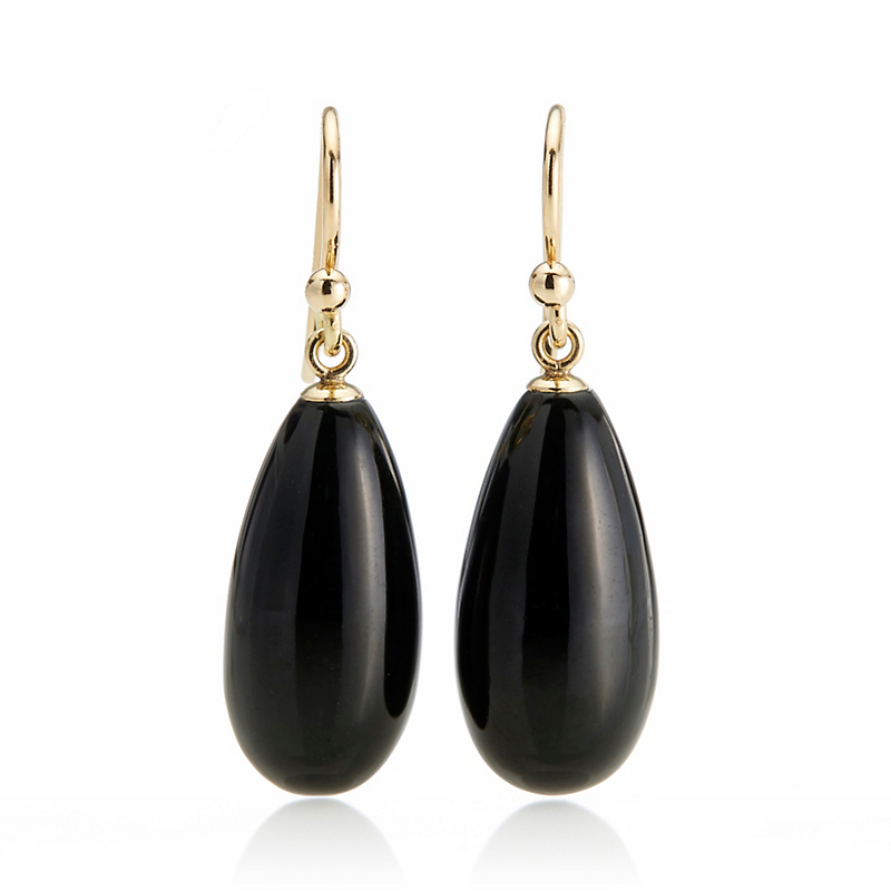 Gump's Black Jade Teardrop Earrings