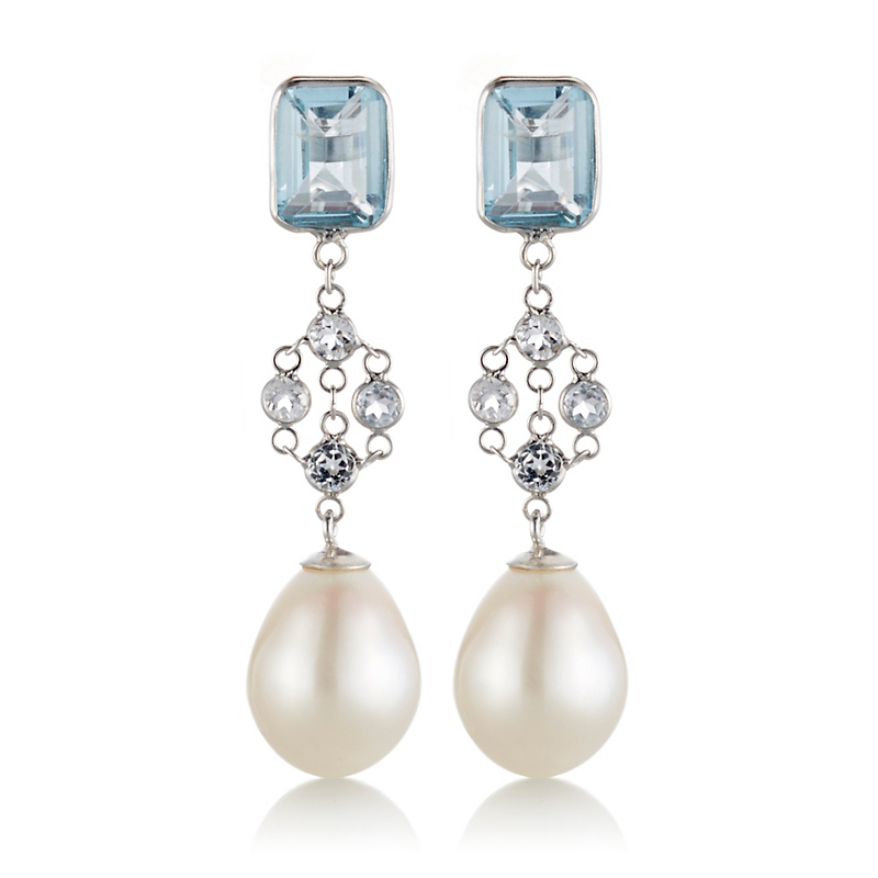 Gump's Faceted Blue & White Topaz With Freshwater Pearl Drop Earrings