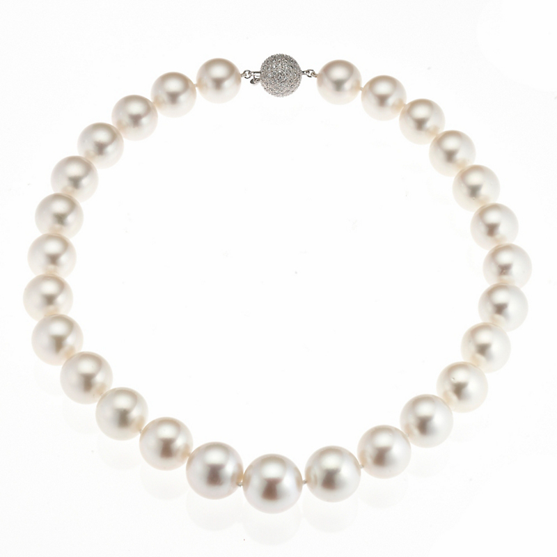 Gump's White South Sea Pearl & Pave Diamond Necklace