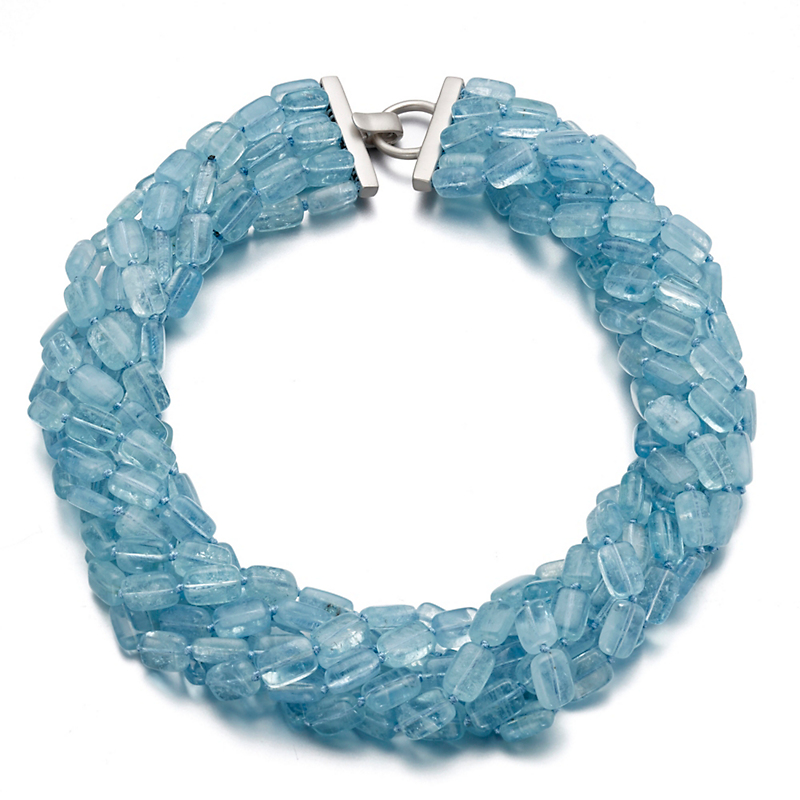 Gump's Seven Strand Smooth Rectangle Aquamarine Twist Necklace