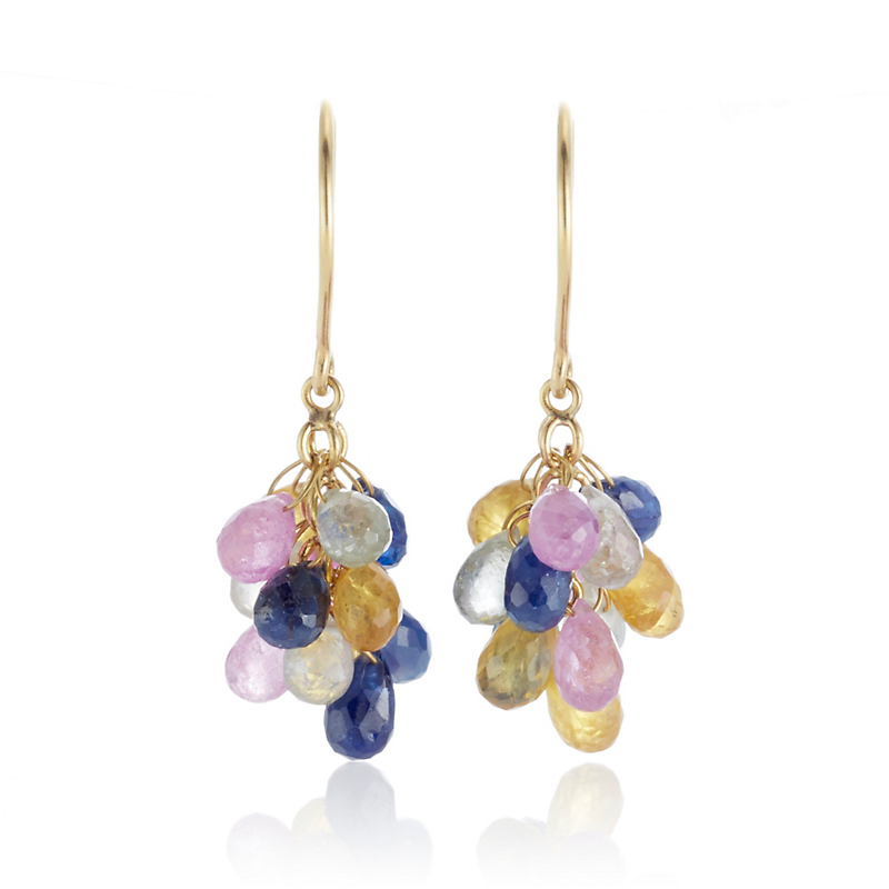 Gump's Multicolor Sapphire Briolette Drop Earrings