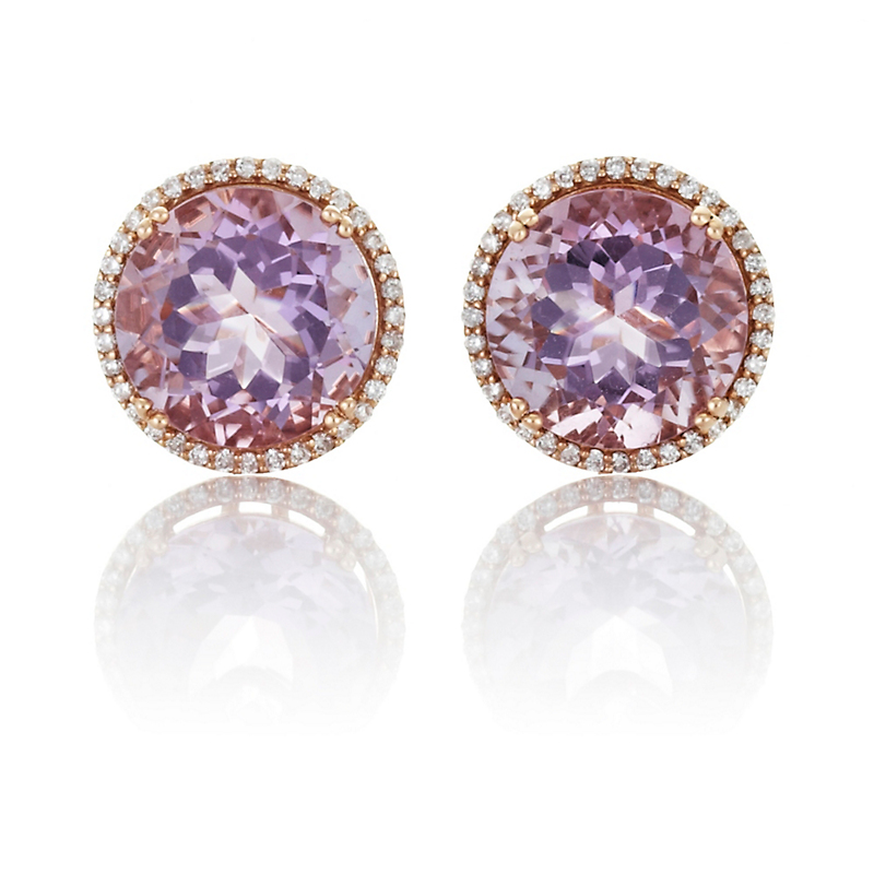 Amethyst & Diamond Round Earrings