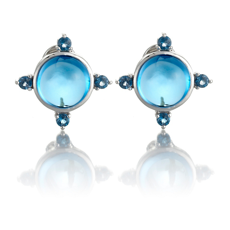 Gump's Cabochon & Faceted Blue Topaz Four Points Earrings