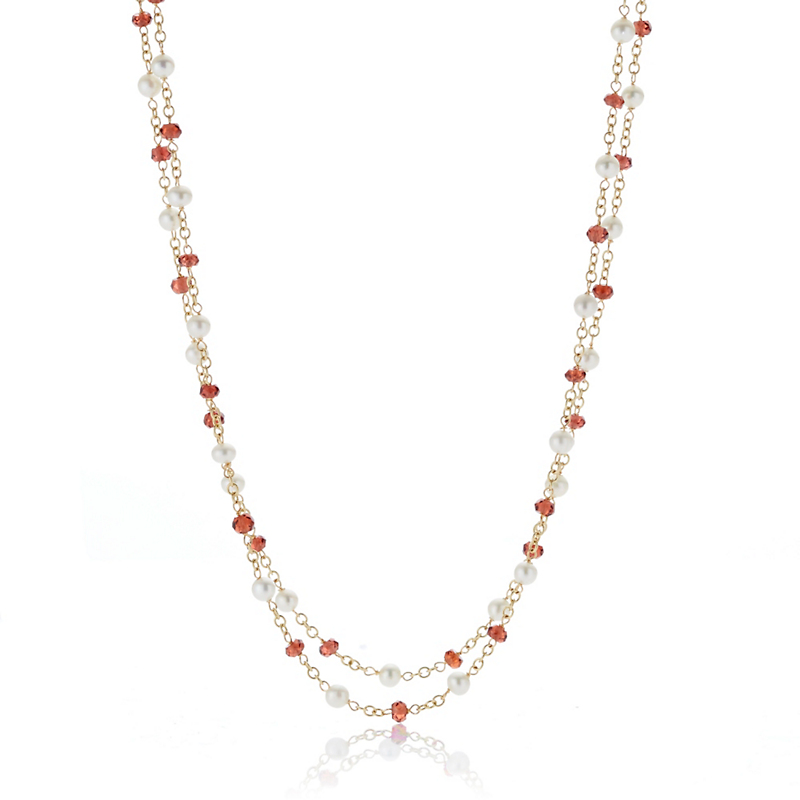 Petite Garnet & Freshwater Pearl Double Chain Necklace