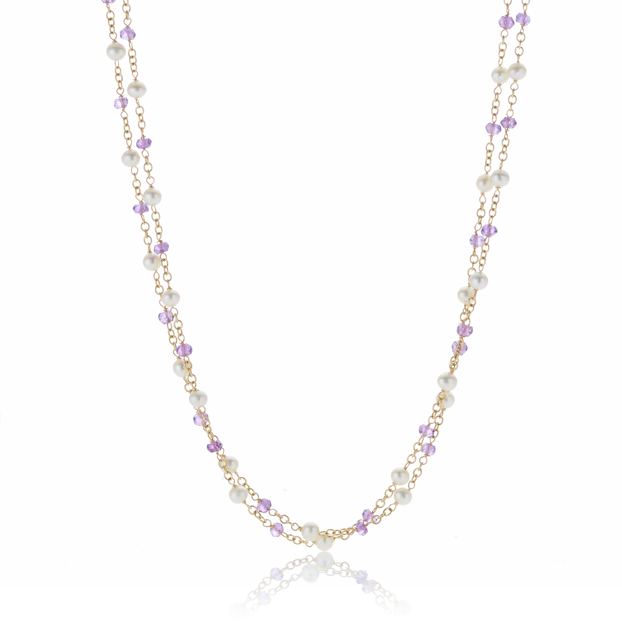 Petite Amethyst & Freshwater Pearl Double Chain Necklace