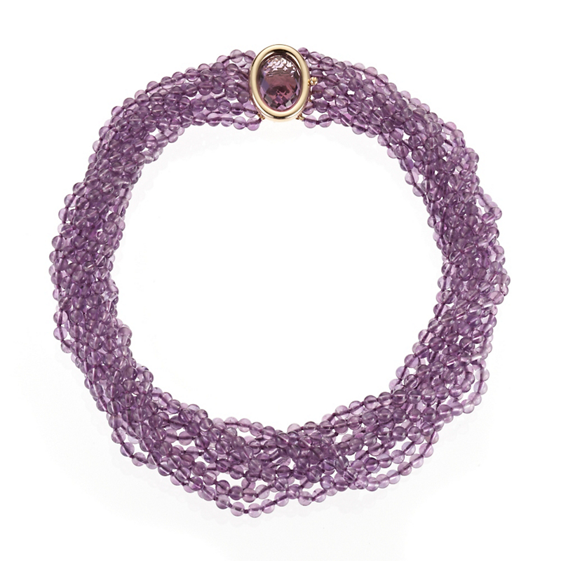 Gump's Ten Strand Amethyst Bead Necklace