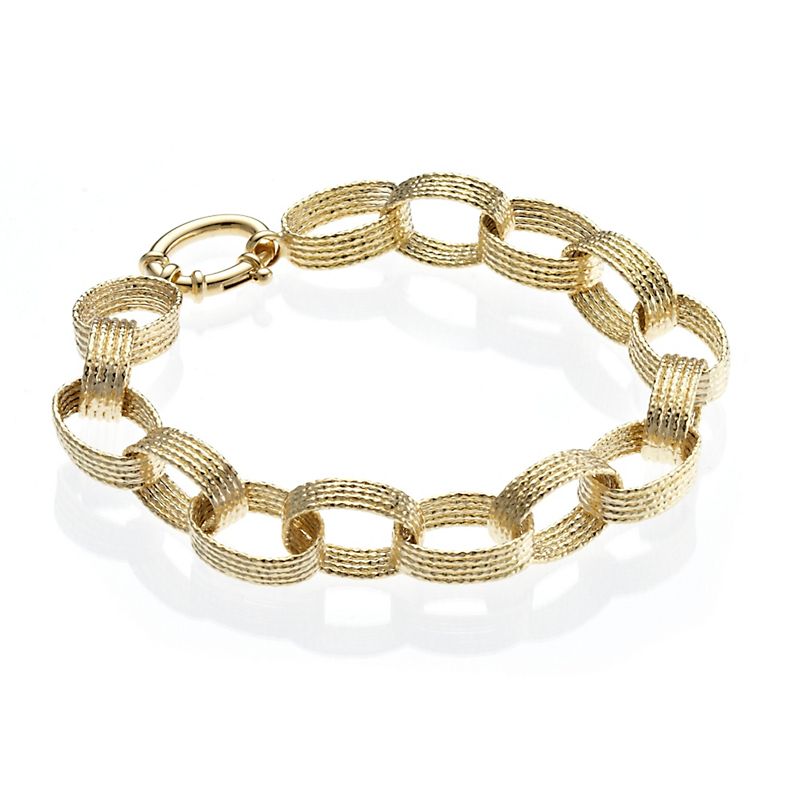 Gold Textured Oval Link Bracelet