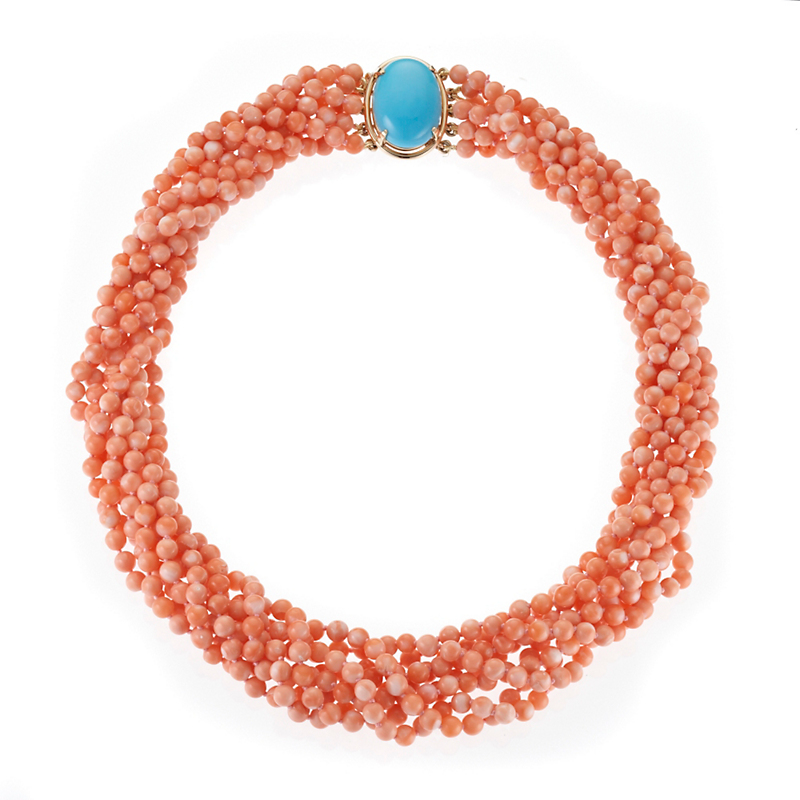 Gump's   Eight Strand Salmon Coral Twist & Turquoise Necklace