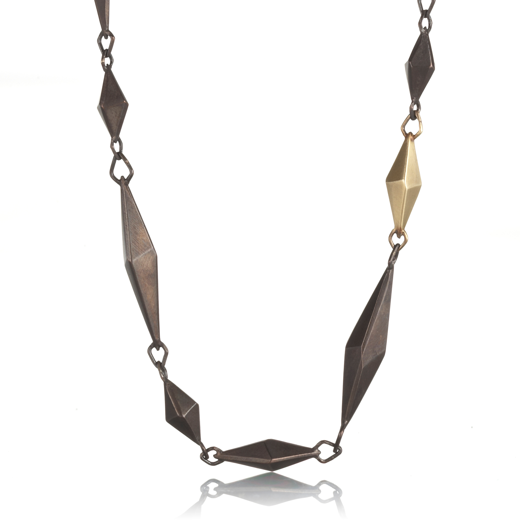 Gabriella Kiss Oxidized Bronze & Gold Chiseled Link Necklace